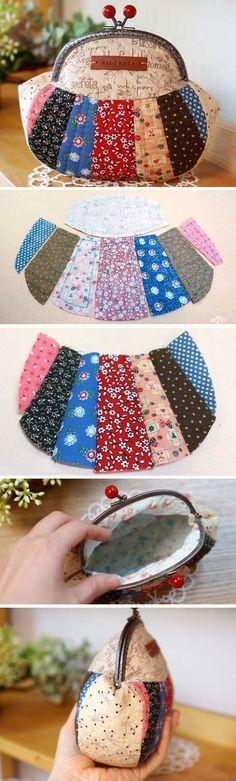 Snap Frame Patchwork Purse Pouch. Photo Tutorial. Step by step DIY.  http://www.handmadiya.com/2015/12/patchwork-purse-pouch.html