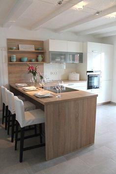 156 surprising small kitchen design ideas and decor -page 29 > Homemytri. Kitchen Room Design, Modern Kitchen Design, Kitchen Interior, Home Interior Design, Kitchen Decor, Kitchen Ideas, Home Design, Kitchen Living, New Kitchen