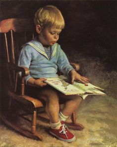 Emmanuel Garant - 'Enfant Lisant' (Child Reading) This little boy looks just like my son did at this age. Tea And Books, I Love Books, Books To Read, Good Books, Reading Art, Kids Reading, Reading Books, Boy Pictures, World Of Books