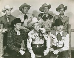 Sons of the Pioneers, from left to right (top row): Tim Spencer, Hugh Farr, Karl Farr, Ken Carson, (bottom row) Bob Nolan, Roy Rogers, Pat Brady