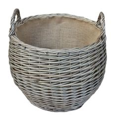 Large Antique Wash Stumpy Basket by Willow Direct. Round lined log basket in antique wash willow. Willow Direct round lined log basket