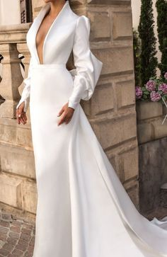 Fit And Flare Wedding Dress, Wedding Dress Sleeves, Long Wedding Dresses, Elegant Wedding Dress, Lace Dress, Dress Wedding, Wedding Flowers, Turtleneck Wedding Dress, Simple Bridal Dresses