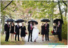 broach bouquet, red and black wedding, rainy wedding