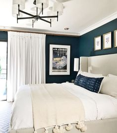 Cheap Home Decor Bedroom with dark blue walls and white and Ivory bedding Home Decor Bedroom with dark blue walls and white and Ivory bedding Cozy Bedroom, Home Decor Bedroom, Modern Bedroom, Bedroom Ideas, Bedroom Art, Bedroom Designs, Ivory Bedding, Neutral Bedding, Cream Bedding