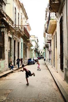Major league hopefuls play stickball in Havana, Cuba. (Photo Credit: Eric Kiel/Garden & Gun)