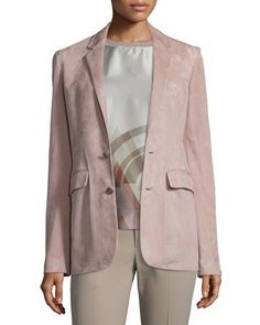B397G Ralph Lauren Collection Yvette Two-Button Jacket, Rose