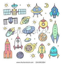Collection of sketchy space objects, colored graphics on white background. Hand drawing. The planets , spaceships , stars and comets , rockets, space shuttle, flying saucers.
