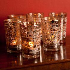 Six Antiqued Silver Tea Light Holders