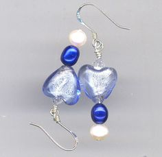 The Blues....Blue Heart and Pearl Earrings by AGreenWoods on Etsy
