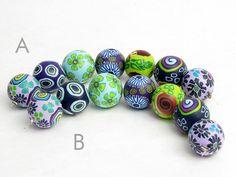beads, diy, Nautilus Perlenset aus Polymer Clay handgefertigt von polymerdesign