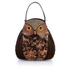 GUFO - BRACCIALINI - Rigid leather handbag shaped like an owl. Made and processed by hand. Handheld bag.