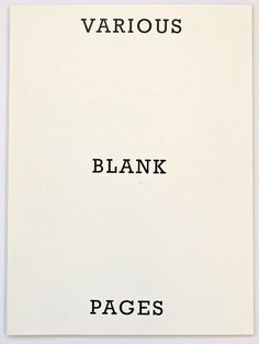 Blank Page, Photo Book