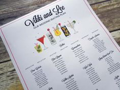 Las Vegas Cocktails Table Plan   Cocktail Wedding Stationery   Pinterest   Table  Plans, Wedding Stationery And Wedding Tables