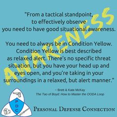 """Awareness: The Cornerstone of Self Defense -- Anytime you leave your home, you should """"flip the switch"""" to yellow. Being relaxed but alert could save you from dangerous situations.   