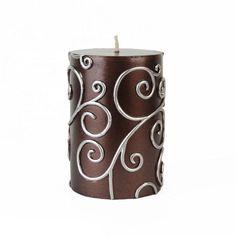 Brown Scroll Pillar Candle $6