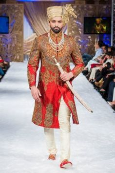 Coming to the Groom Sherwani Number 7th, This Sherwani gives the royal look as per customers rating. Our Customers are saying that this sherwani every time praised. How ever this sherwani made from high quallity simmer material which give the eligant look. In India Red color is very lucky as per our mythology. So most of the people of India slect maroon or Red color for their wedding attire. This sherwani has done different types of hand work on it. Neck has jardosi and Kashmiri hand work…