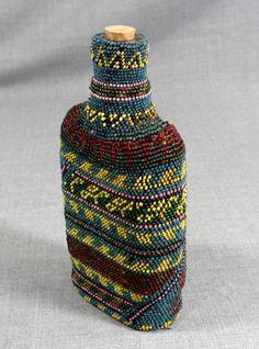 1914 BALKAN WAR TURKISH POW PRISONER OF WAR BEADWORK BEADED GLASS FLASK CANTEEN | eBay