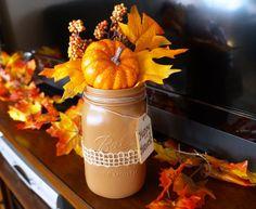 Mason Jar Centerpiece Vase - Fall Happy Harvest Thanksgiving Decoration - Large Jar
