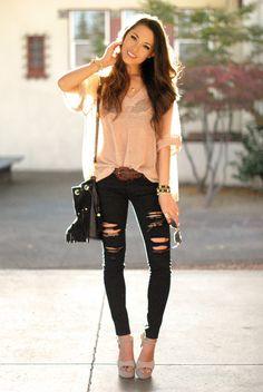 Solilor Girl sweater, Bullhead jeans, Nasty Gal bag, Steve Madden sandals.