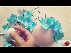 Hướng dẫn làm hoa Cẩm Tú Cầu bằng giấy nhún - YouTube
