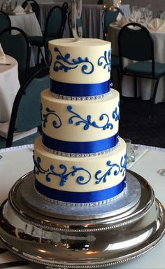 blue and white wedding cake ideas - Google Search