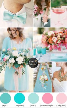 We Put Together Aqua Mint Turquoise Pink Wedding Palette Ideal For Summer See And Ideas How To Use Both Colours Into