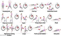 Geen tijd kan je excuus niet zijn want deze totale body workout duurt precies 7 minuten. Conditie en spieren worden op de proef gesteld door 7 minuten voluit ervoor te gaan. Doe tijdens elke oefening 30 seconden je uiterste best en rust daarna 10 seconden. Start dan direct weer met de volgende oefening en werk zo alle 12 oefeningen af.