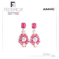 Earrings ALMA 1 Drop pendant earrings with stones. Rose/fuchsia. 1,500.00 Ksh http://www.federicafashion.com/ep105/earrings-alma-1/ http://www.jumia.co.ke/federica-fashion/