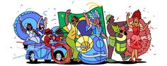 Carnaval 2017 (Brazil) Date: February 28 2017 Location: Brazil Tags: Carnival parade National Holiday History brasil Gifs, San David, Mini Doodle, Web Design, Google Doodles, Famous Artists, Animated Gif, Illustrators, Modern Art