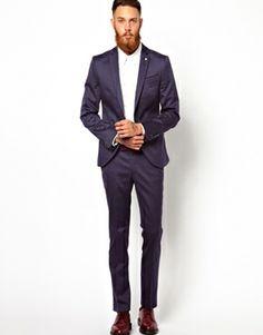 ASOS Skinny Fit Suit Jacket In Navy Fleck | Suits | Pinterest ...