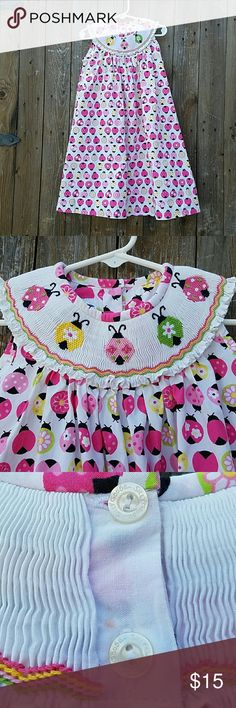Silly Goose Hand Smocked Ladybugs Dress **There is a faint spot on back near buttons. See 3rd picture.** Hand Smocked Embroidered Ladybugs on smocking 2 buttons on back Sleeveless 100& Cotton Silly Goose Dresses