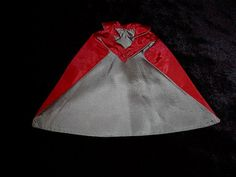 Antique Doll Cape Red Satin with sage lining by ArtsyChikVintage