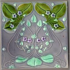 Decorative Ceramic tile X inches, Illustration Vintage art nouveau Antique Tiles, Vintage Tile, Antique Art, Vintage Art, Motifs Art Nouveau, Azulejos Art Nouveau, Belle Epoque, Art Nouveau Tiles, Art Nouveau Design