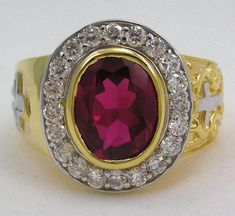 Our craftsmen has gone to great lengths to surprise you. Thanks to gold plating and massive ruby stone of our Christian Ruby Bishop Ring, you'll be blown away Silver Rings With Stones, Mens Silver Rings, Silver Man, Silver Bracelets, White Gold Jewelry, Yellow Gold Rings, Bishop Ring, Sterling Silver Cross, Ruby Stone