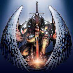 Angel by DavidHaney on DeviantArt Angel Warrior Tattoo, Guardian Angel Tattoo, Warrior Tattoos, Male Angels, Angels And Demons, Dark Fantasy, Fantasy Art, Fantasy Sword, Archangel Michael Tattoo
