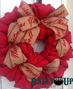 Merry Christmas Y'all Burlap Wreath Christmas by DallyUpBoutique