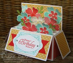 Stampin Up long pop up card in a box & template instructions by Di Barnes, with Flower Shop, Petite Petals & Chalk Talk stamps. #stampinup #...