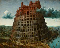 A Torre de Babel. Cerca de 1563 a 1565. Óleo no painel. Pieter Bruegel, o Velho (Breda, Países Baixos, 1525/1530 — 09/09/1569, Bruxelas, Bélgica). Bruegel pintou três versões da Torre de Babel. Uma é mantida no Museu Boijmans van Beuningen em Roterdam, Países Baixos; a segunda no Museu de História da Arte em Viena, Áustria; enquanto que a localização da terceira versão (a miniatura em marfim) é desconhecida.