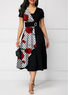 Flower and Dot Print Short Sleeve Belted Dress Latest African Fashion Dresses, African Dresses For Women, African Print Fashion, Women's Fashion Dresses, Fashion Cape, Fashion Goth, Fashion Clothes, Cute Dresses, Casual Dresses