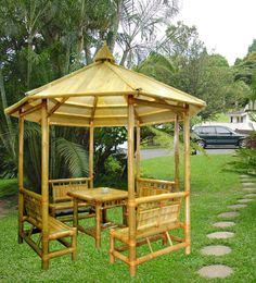 Pergola With Retractable Canopy Kit Backyard Gazebo, Garden Gazebo, Diy Pergola, Bamboo House Design, Bamboo Building, Hut House, Bahay Kubo, Bamboo Structure, Buy Bamboo
