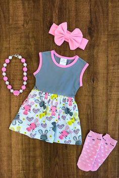 Yellow Pink Bunny Polka Dot Dress