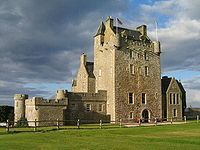 Ackergill Tower in Scotland is said to be haunted by the ghost of Helen Gunn, who was abducted by John Keith for her beauty. She flung herself, or fell, from the highest tower to escape her abductor's advances. Supposedly her ghost is still seen wearing a long red rustling ball gown and a tall head of black hair.
