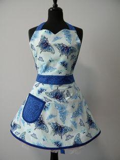 Womens APRON-PLUS SIZE-Butterflies in Blue Full Sweetheart Apron