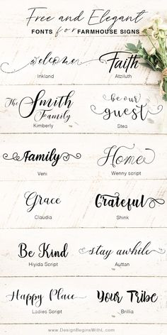 Free and Elegant Fonts for Farmhouse Signs <br> We all have those Joanna Gaines' moments when we want to go all out with the farmhouse chic style and rightfully so. Joanna's style is tra… Fall Fonts, Winter Fonts, Free Font Design, Web Design, Font Free, Script Fonts Free, Free Fonts Download, Free Fonts For Cricut, Hand Lettering Fonts Free
