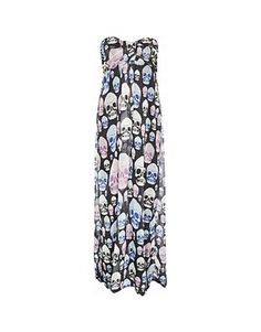 ASOS Fashion Finder | Gossipi Skull Print Strapless Maxi Dress - In the style of Alex Gerrard