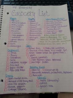 Grocery list.  Definitely cut my grocery store run from a 2 hour process to a lottle over an hour. It is so much easier to grocery shop when the list is organized like this.  I will have to try this with couponing, and I bet I will save so much!!