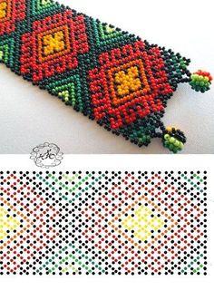 Huichol Bead Loom Patterns, Beaded Jewelry Patterns, Bracelet Patterns, Peyote Patterns, Beading Patterns, Bead Loom Bracelets, Beaded Crafts, Seed Bead Jewelry, Beading Tutorials
