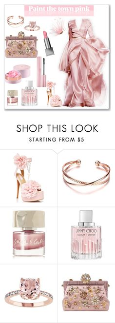 """""""Pretty in Pink"""" by torresmjm-1 ❤ liked on Polyvore featuring Sugarbaby, Smith & Cult, Jimmy Choo, Lancôme, Dolce&Gabbana and Burberry"""
