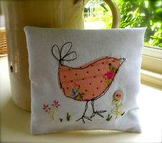 Lavender bag, little bird design, free machine embroidery and hand embroidery.