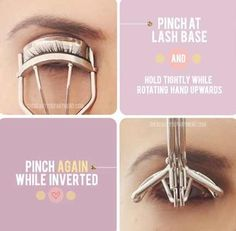 Get the most out of your lash curler by pinching at the base of your lashes, then lifting the curler up.